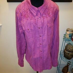 Cruel Girl Cowgirl Button Up Sz L